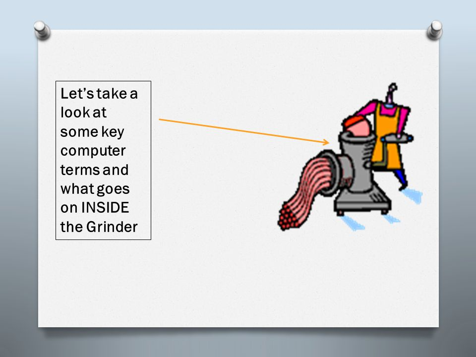 Let's take a look at some key computer terms and what goes on INSIDE the Grinder