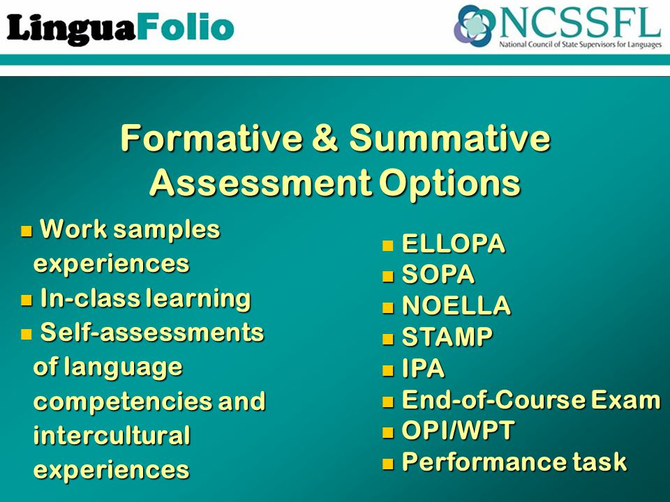 Formative & Summative Assessment Options Work samples Work samples experiences experiences In-class learning In-class learning Self-assessments Self-assessments of language of language competencies and competencies and intercultural intercultural experiences experiences ELLOPA ELLOPA SOPA SOPA NOELLA NOELLA STAMP STAMP IPA IPA End-of-Course Exam End-of-Course Exam OPI/WPT OPI/WPT Performance task Performance task