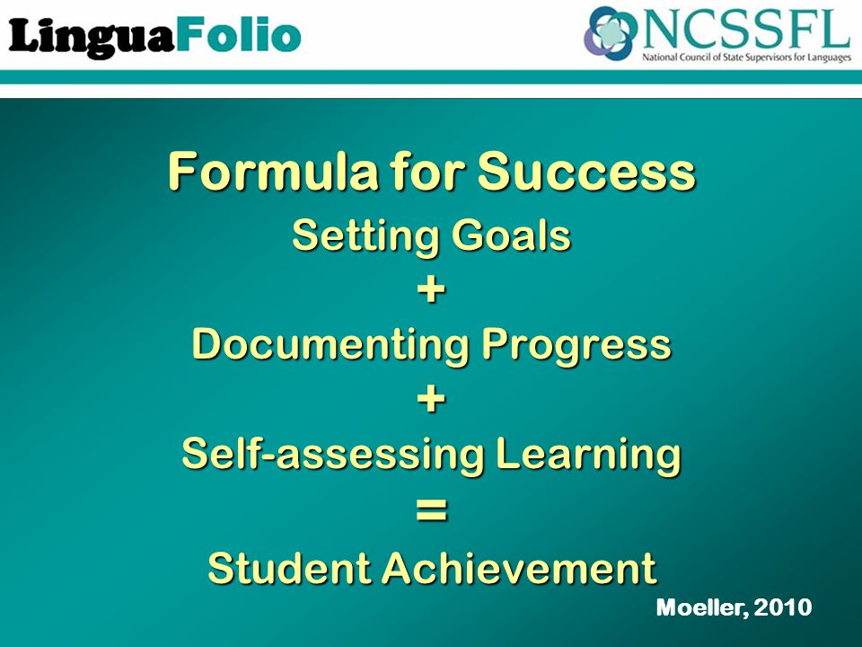 Formula for Success Setting Goals + Documenting Progress + Self-assessing Learning = Student Achievement Moeller, 2010
