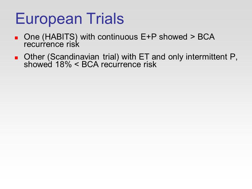 European Trials One (HABITS) with continuous E+P showed > BCA recurrence risk Other (Scandinavian trial) with ET and only intermittent P, showed 18% < BCA recurrence risk