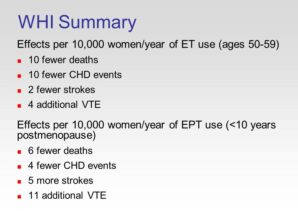 WHI Summary Effects per 10,000 women/year of ET use (ages 50-59) 10 fewer deaths 10 fewer CHD events 2 fewer strokes 4 additional VTE Effects per 10,000 women/year of EPT use (<10 years postmenopause) 6 fewer deaths 4 fewer CHD events 5 more strokes 11 additional VTE