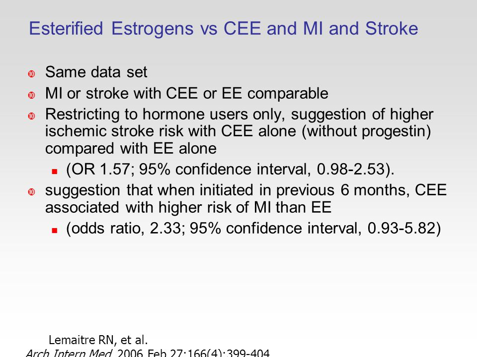 Esterified Estrogens vs CEE and MI and Stroke  Same data set  MI or stroke with CEE or EE comparable  Restricting to hormone users only, suggestion of higher ischemic stroke risk with CEE alone (without progestin) compared with EE alone (OR 1.57; 95% confidence interval, ).