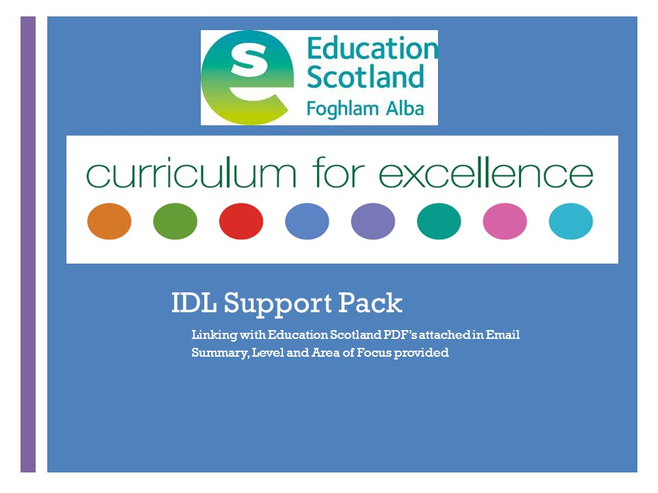 + IDL Support Pack Linking with Education Scotland PDF's attached in Email Summary, Level and Area of Focus provided