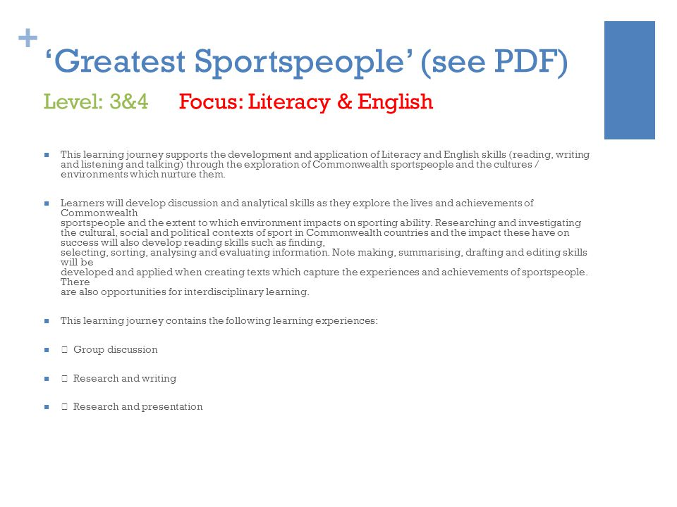 + 'Greatest Sportspeople' (see PDF) This learning journey supports the development and application of Literacy and English skills (reading, writing and listening and talking) through the exploration of Commonwealth sportspeople and the cultures / environments which nurture them.