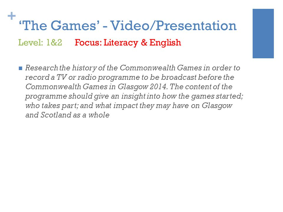 + 'The Games' - Video/Presentation Research the history of the Commonwealth Games in order to record a TV or radio programme to be broadcast before the Commonwealth Games in Glasgow 2014.