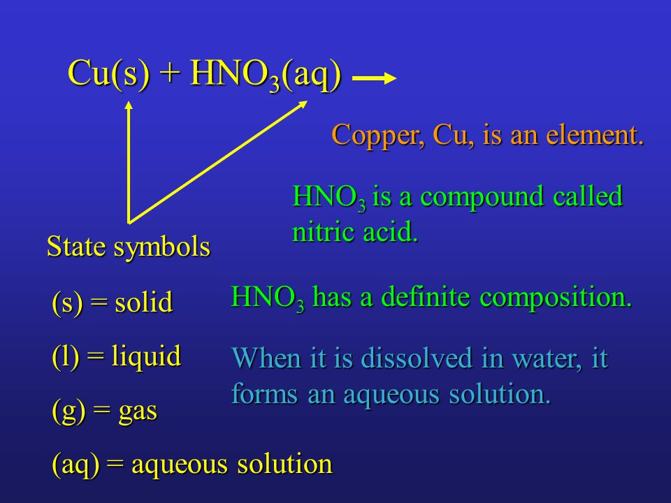 Cu(s) + HNO 3 (aq) State symbols (s) = solid (l) = liquid (g) = gas (aq) = aqueous solution HNO 3 has a definite composition.