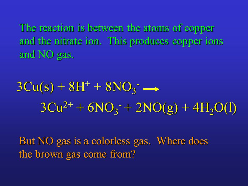 3Cu 2+ + 6NO 3 - + 2NO(g) + 4H 2 O(l) 3Cu(s) + 8H + + 8NO 3 - But NO gas is a colorless gas.