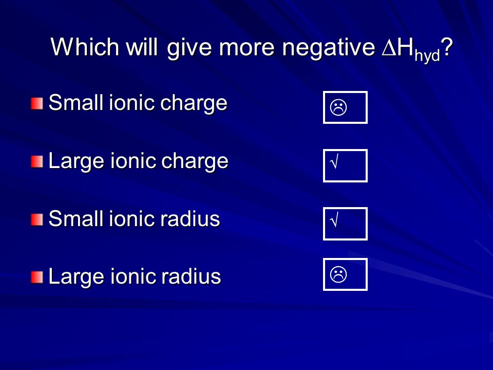 Different ions An ionic compound contains cations and anions Total  H hyd =  H hyd (cation) +  H hyd (anion) When NaCl is dissolved: Total  H hyd =  H hyd (Na+) +  H hyd (Cl-)