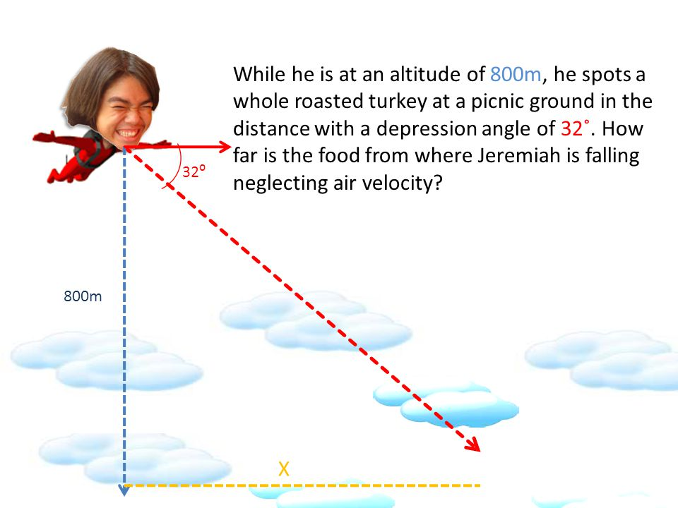 While he is at an altitude of 800m, he spots a whole roasted turkey at a picnic ground in the distance with a depression angle of 32˚.