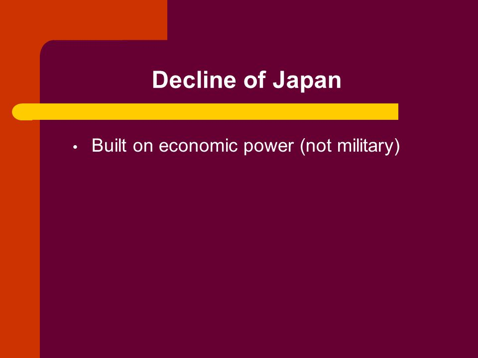 Decline of Japan Built on economic power (not military)