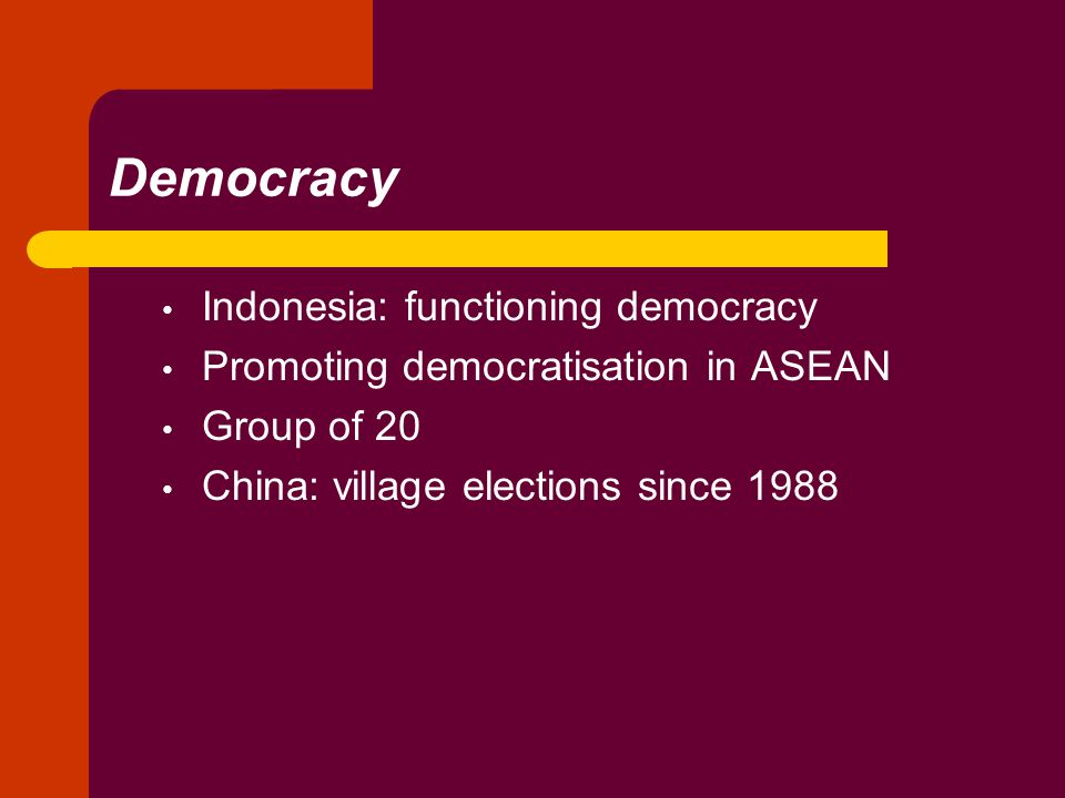 Democracy Indonesia: functioning democracy Promoting democratisation in ASEAN Group of 20 China: village elections since 1988