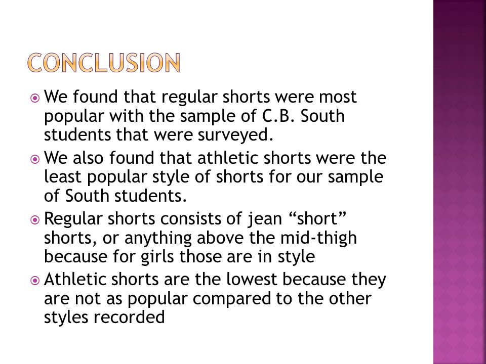  We found that regular shorts were most popular with the sample of C.B.