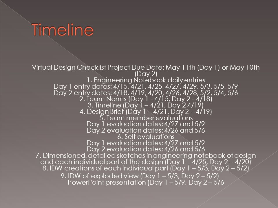 Virtual Design Checklist Project Due Date: May 11th (Day 1) or May 10th (Day 2) 1.