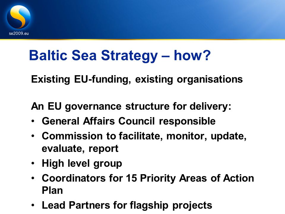 Baltic Sea Strategy – how.