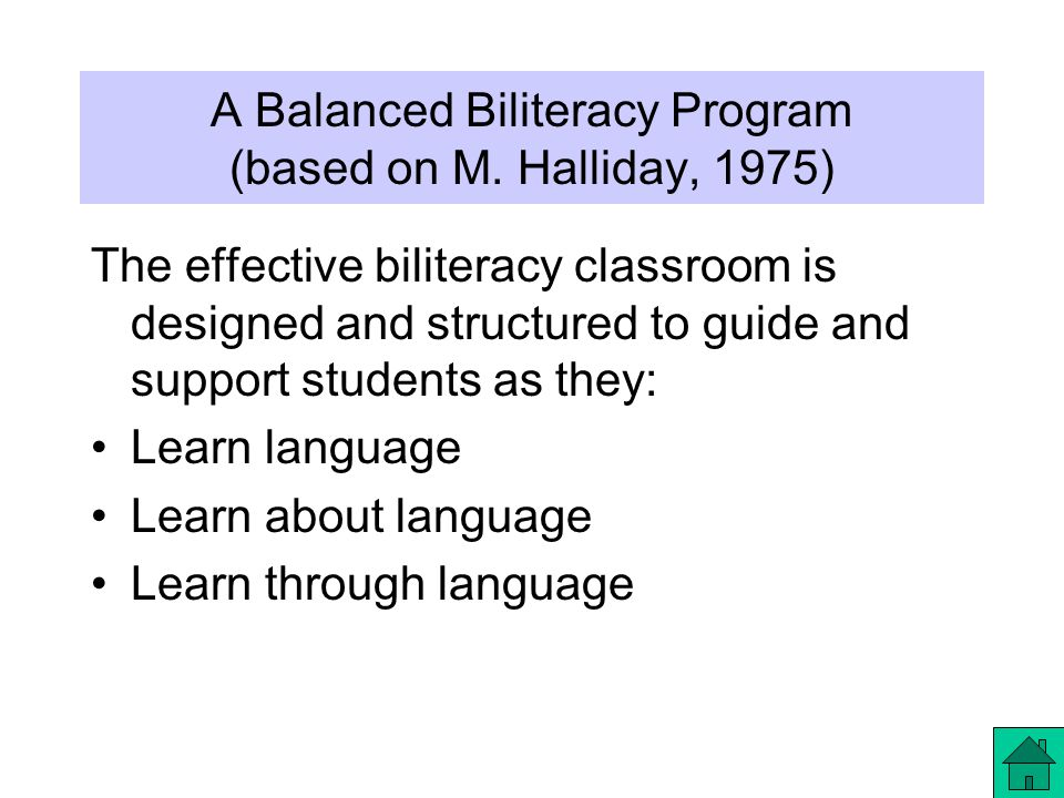 A Balanced Biliteracy Program (based on M.