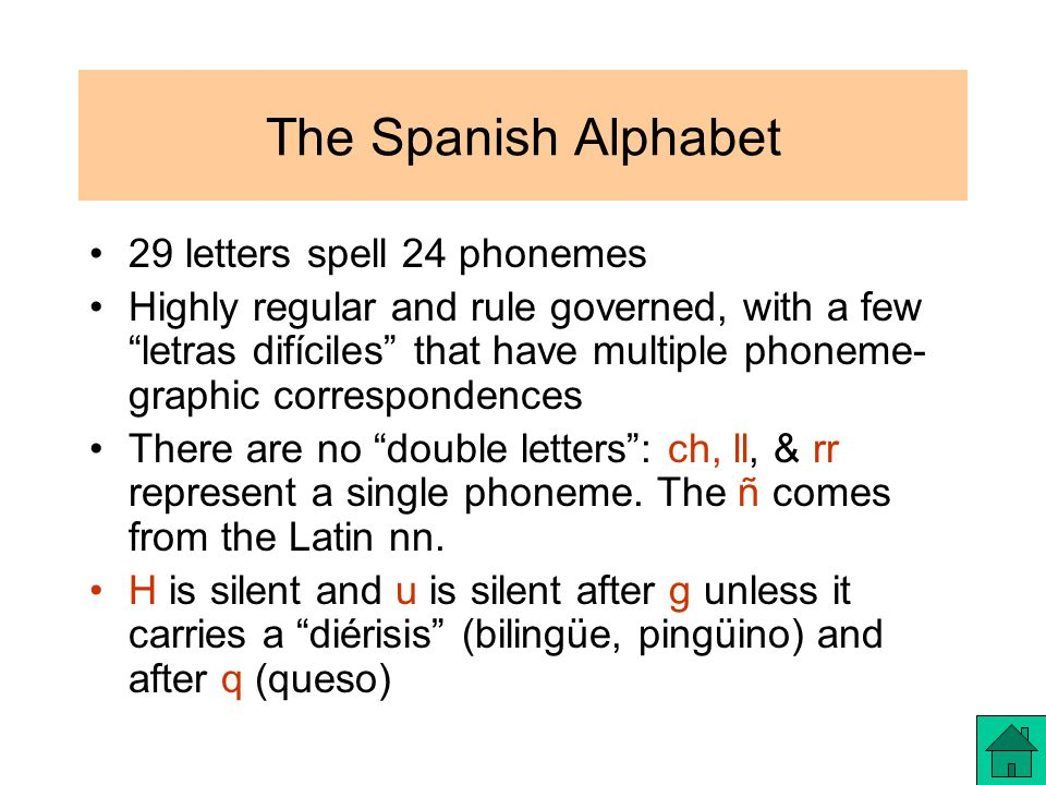 The Spanish Alphabet 29 letters spell 24 phonemes Highly regular and rule governed, with a few letras difíciles that have multiple phoneme- graphic correspondences There are no double letters : ch, ll, & rr represent a single phoneme.