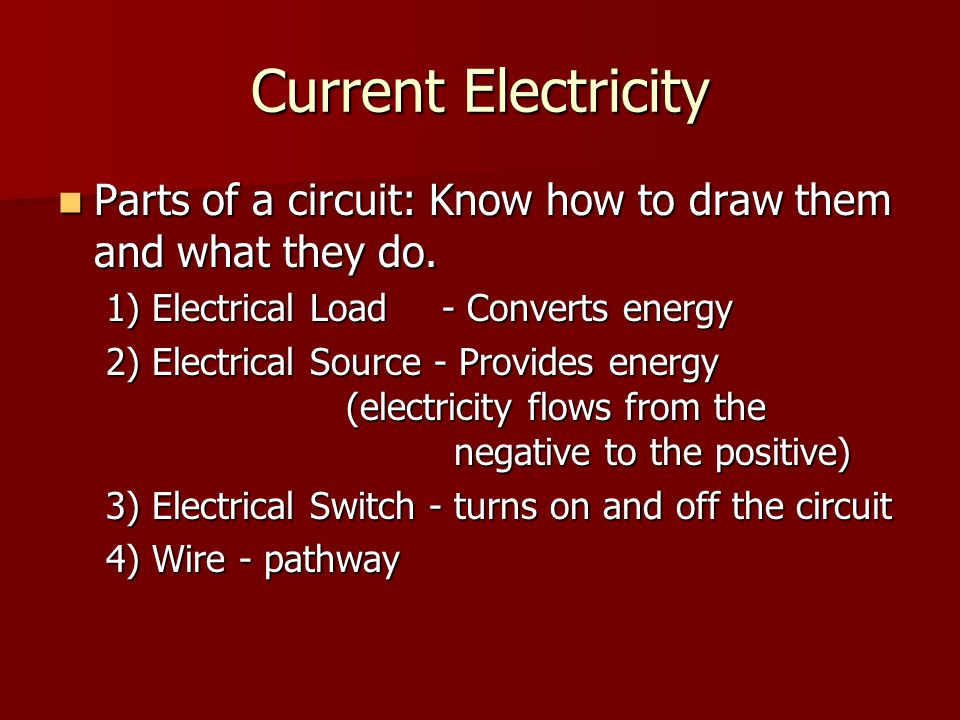 Current Electricity Parts of a circuit: Know how to draw them and what they do.