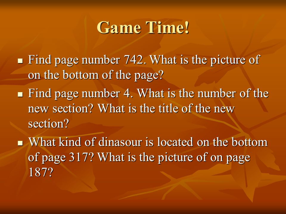 Game Time. Find page number 742. What is the picture of on the bottom of the page.