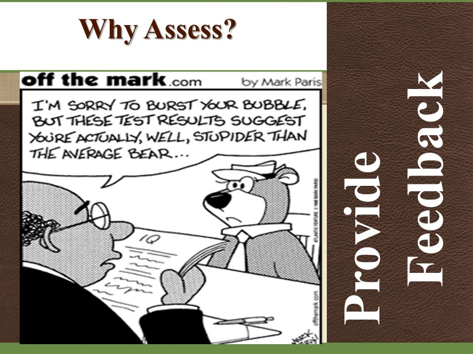 Why Assess Provide Feedback
