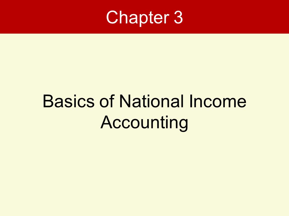 Chapter 3 Basics of National Income Accounting