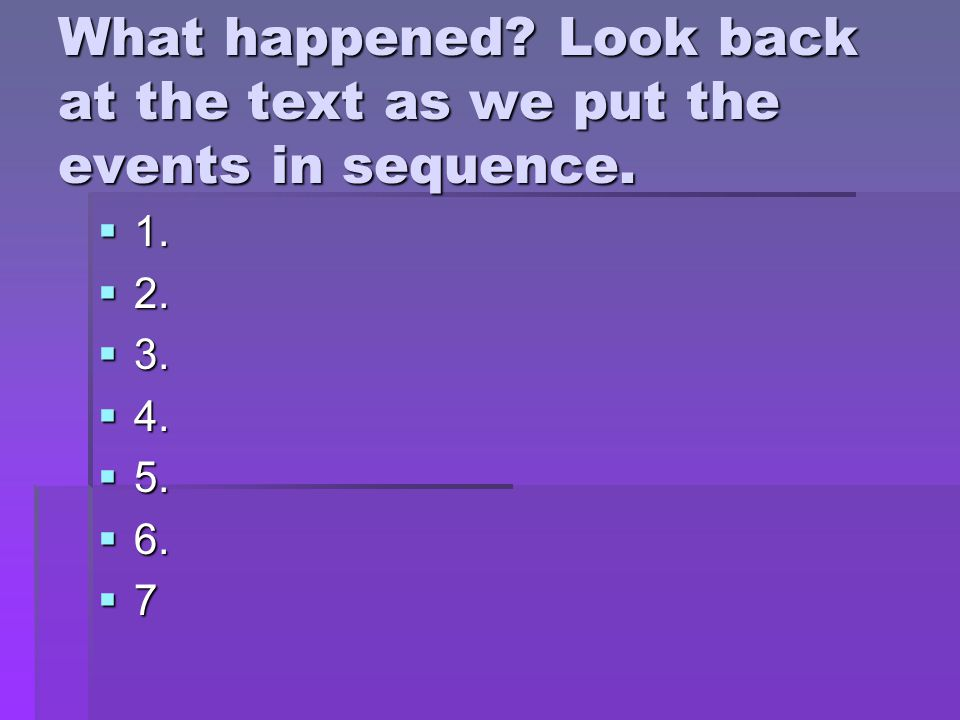 What happened. Look back at the text as we put the events in sequence.