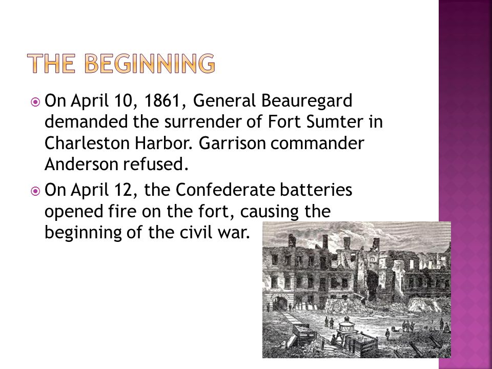  On April 10, 1861, General Beauregard demanded the surrender of Fort Sumter in Charleston Harbor.