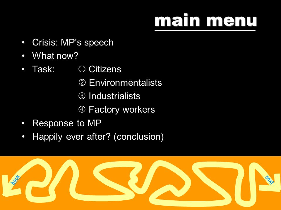 main menu Crisis: MP's speech What now.