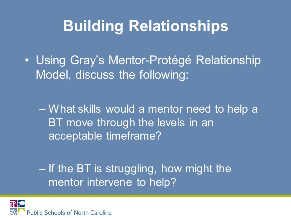 Building Relationships Using Gray's Mentor-Protégé Relationship Model, discuss the following: –What skills would a mentor need to help a BT move through the levels in an acceptable timeframe.