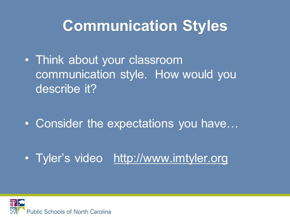 Think about your classroom communication style. How would you describe it.