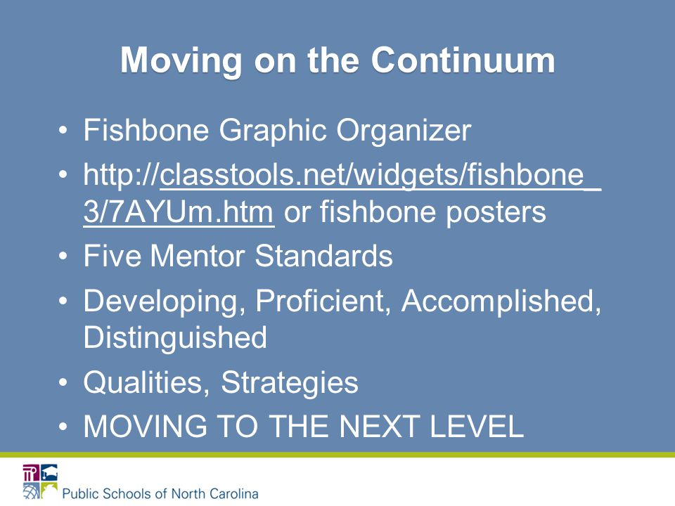 Fishbone Graphic Organizer http://classtools.net/widgets/fishbone_ 3/7AYUm.htm or fishbone posters Five Mentor Standards Developing, Proficient, Accomplished, Distinguished Qualities, Strategies MOVING TO THE NEXT LEVEL Moving on the Continuum