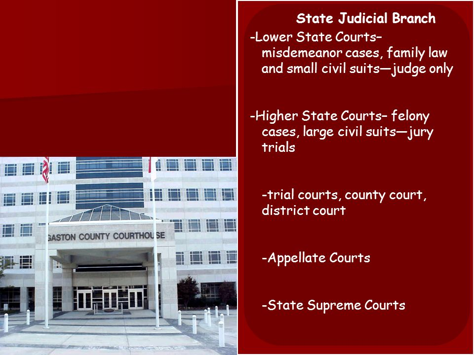 State Judicial Branch -State Courts handle all cases not given to federal jurisdiction, which is most all cases -Most state judges are elected officials -elected in non-partisan elections -debate over election process