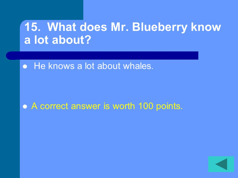 14. What does Mr. Blueberry tell Emily she might do when she gets older.