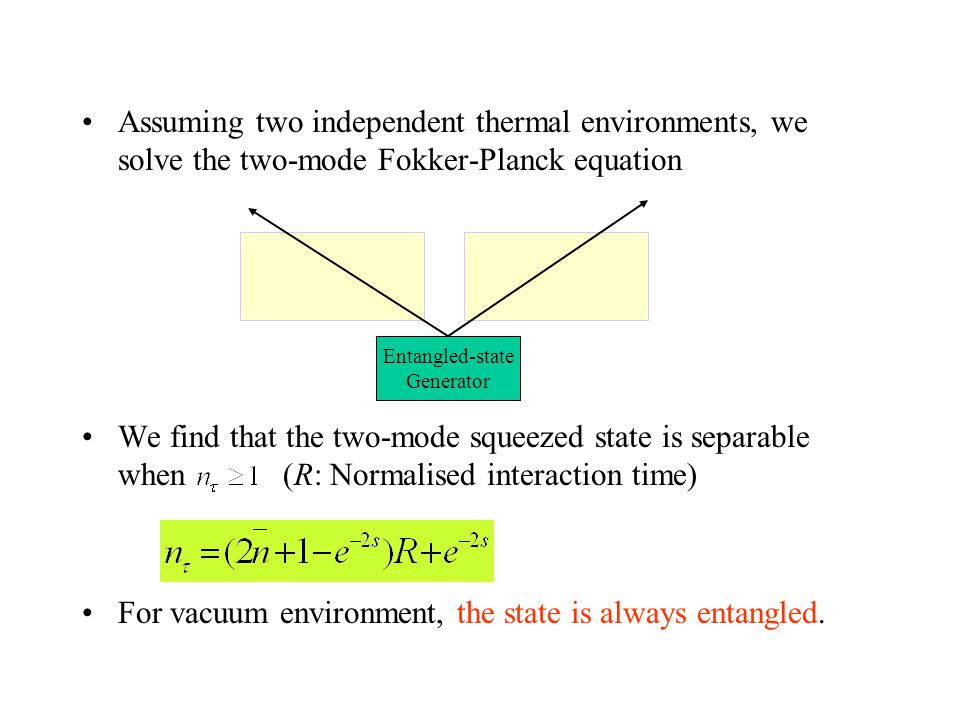 Assuming two independent thermal environments, we solve the two-mode Fokker-Planck equation We find that the two-mode squeezed state is separable when (R: Normalised interaction time) For vacuum environment, the state is always entangled.