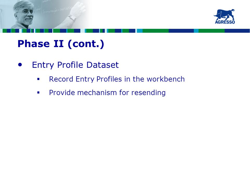 Phase II (cont.) Entry Profile Dataset  Record Entry Profiles in the workbench  Provide mechanism for resending