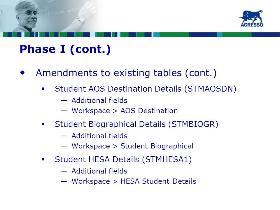 Phase I (cont.) Amendments to existing tables (cont.)  Student AOS Destination Details (STMAOSDN) —Additional fields —Workspace > AOS Destination  Student Biographical Details (STMBIOGR) —Additional fields —Workspace > Student Biographical  Student HESA Details (STMHESA1) —Additional fields —Workspace > HESA Student Details