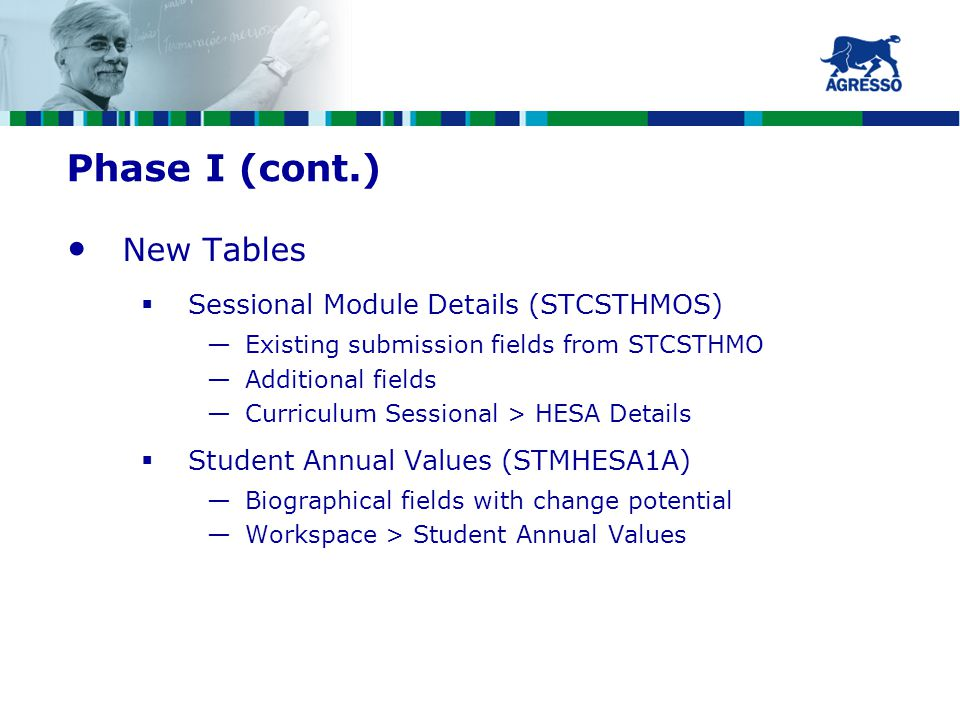 Phase I (cont.) New Tables  Sessional Module Details (STCSTHMOS) —Existing submission fields from STCSTHMO —Additional fields —Curriculum Sessional > HESA Details  Student Annual Values (STMHESA1A) —Biographical fields with change potential —Workspace > Student Annual Values