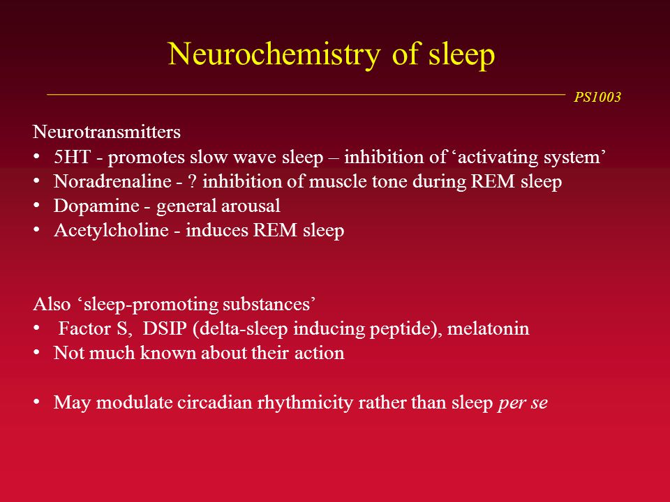 PS1003 Neurochemistry of sleep Neurotransmitters 5HT - promotes slow wave sleep – inhibition of 'activating system' Noradrenaline - .