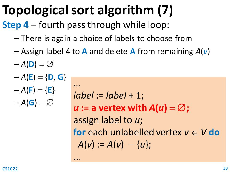 Topological sort algorithm (7) Step 4 – fourth pass through while loop: – There is again a choice of labels to choose from – Assign label 4 to A and delete A from remaining A(v) – A(D)   – A(E)  {D, G} – A(F)  {E} – A(G)   18 CS1022...