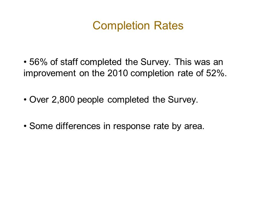 Completion Rates 56% of staff completed the Survey.