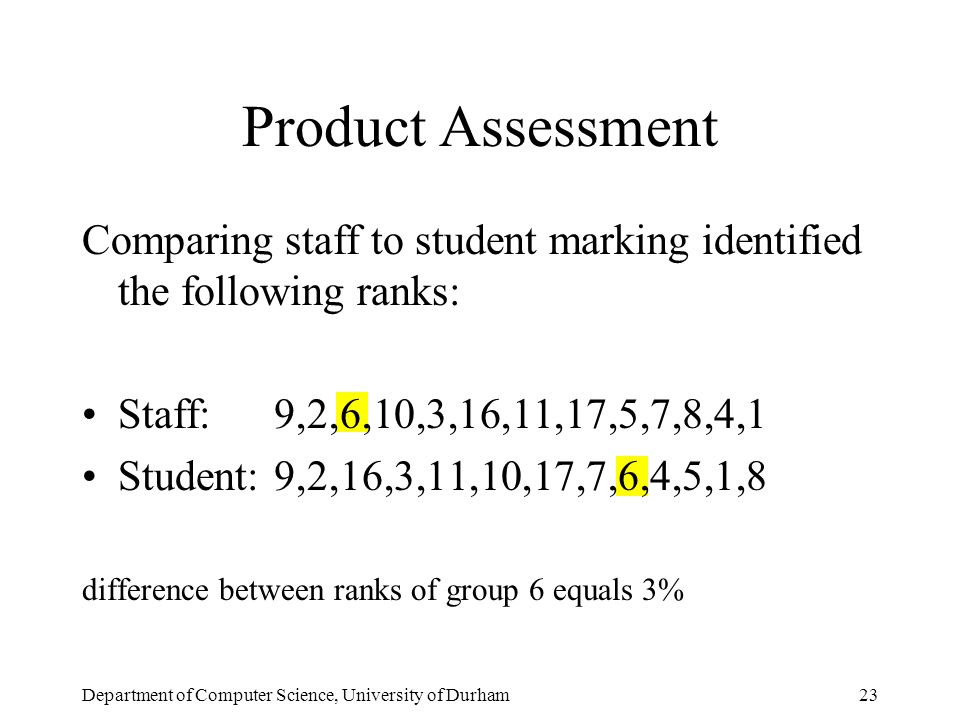 Department of Computer Science, University of Durham23 Product Assessment Comparing staff to student marking identified the following ranks: Staff: 9,2,6,10,3,16,11,17,5,7,8,4,1 Student:9,2,16,3,11,10,17,7,6,4,5,1,8 difference between ranks of group 6 equals 3%