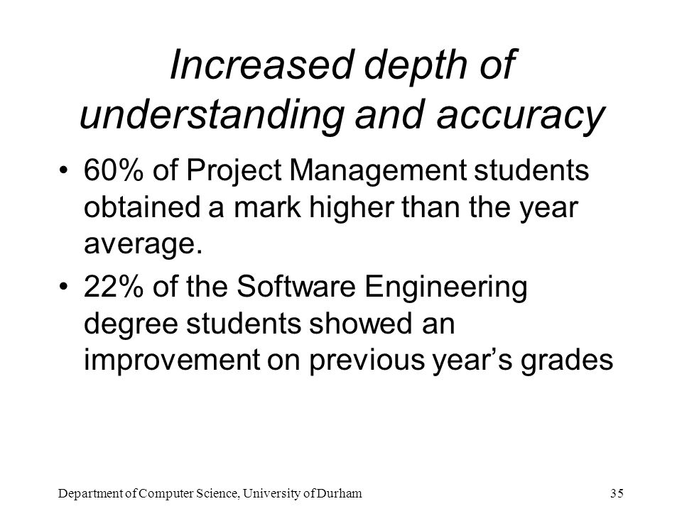 Department of Computer Science, University of Durham35 Increased depth of understanding and accuracy 60% of Project Management students obtained a mark higher than the year average.