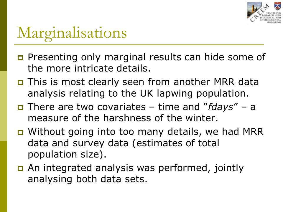 Marginalisations  Presenting only marginal results can hide some of the more intricate details.