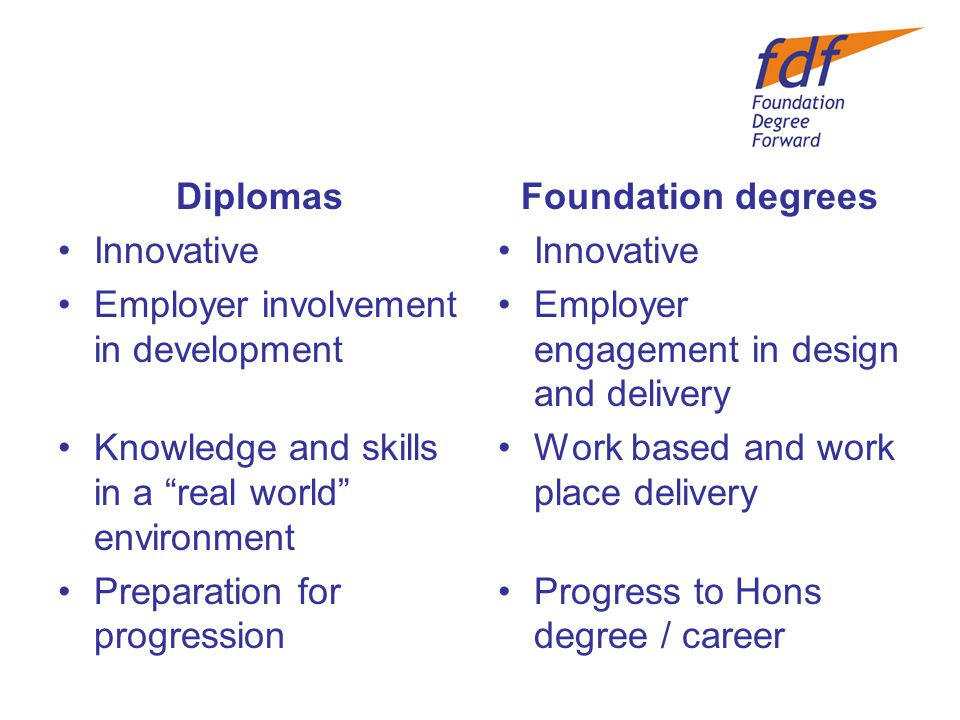 Diplomas Innovative Employer involvement in development Knowledge and skills in a real world environment Preparation for progression Foundation degrees Innovative Employer engagement in design and delivery Work based and work place delivery Progress to Hons degree / career