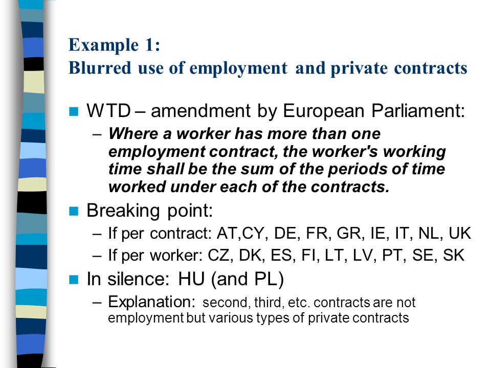 Example 1: Blurred use of employment and private contracts WTD – amendment by European Parliament: –Where a worker has more than one employment contract, the worker s working time shall be the sum of the periods of time worked under each of the contracts.
