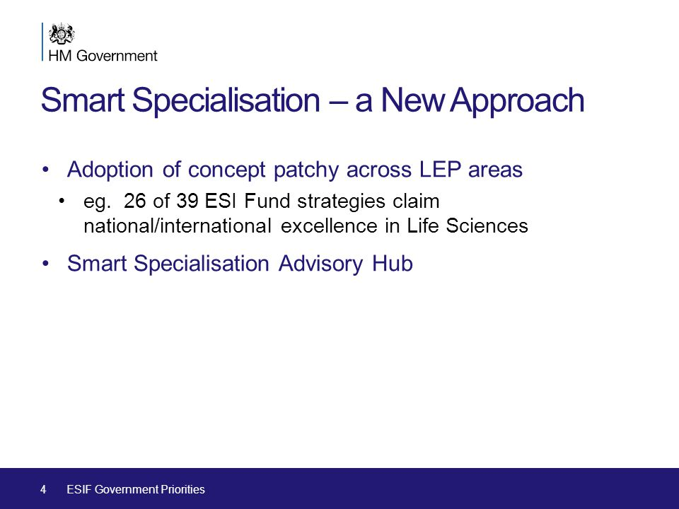 Smart Specialisation – a New Approach Adoption of concept patchy across LEP areas eg.