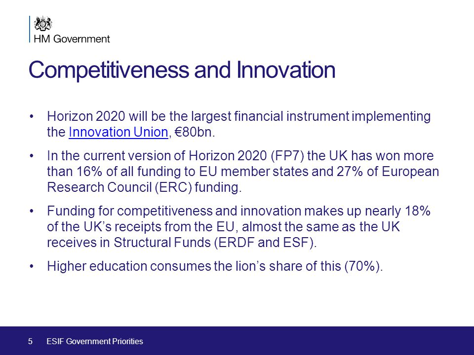 Competitiveness and Innovation Horizon 2020 will be the largest financial instrument implementing the Innovation Union, €80bn.Innovation Union In the current version of Horizon 2020 (FP7) the UK has won more than 16% of all funding to EU member states and 27% of European Research Council (ERC) funding.