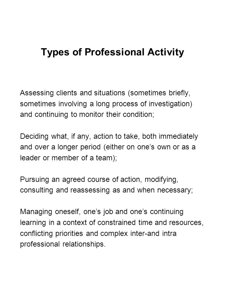 Types of Professional Activity Assessing clients and situations (sometimes briefly, sometimes involving a long process of investigation) and continuing to monitor their condition; Deciding what, if any, action to take, both immediately and over a longer period (either on one's own or as a leader or member of a team); Pursuing an agreed course of action, modifying, consulting and reassessing as and when necessary; Managing oneself, one's job and one's continuing learning in a context of constrained time and resources, conflicting priorities and complex inter-and intra professional relationships.