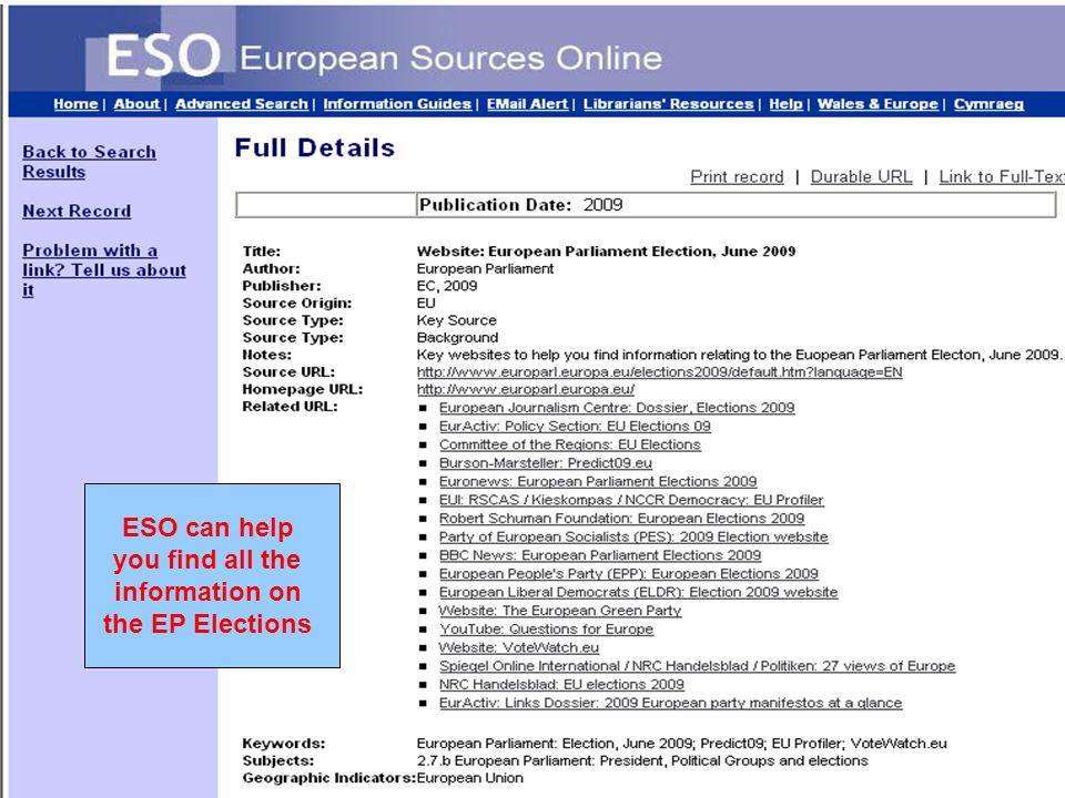 ESO can help you find all the information on the EP Elections