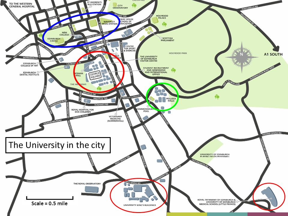 The University in the city Scale = 0.5 mile