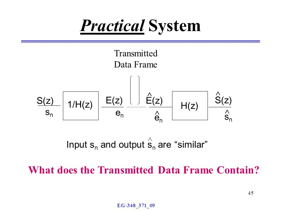 EG-348_371_09 45 Practical System Transmitted Data Frame H(z) S(z) E(z) enen 1/H(z) E(z) S(z) snsn enen Input s n and output s n are similar      snsn What does the Transmitted Data Frame Contain